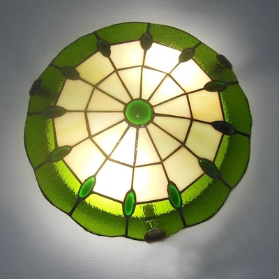 Green Color 12 Inch Flush Mount Ceiling Light in Tiffany Stained