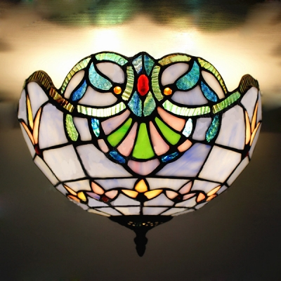 Two-light Baroque Style Blue Stained Glass Tiffany Flush Mount Ceiling Light