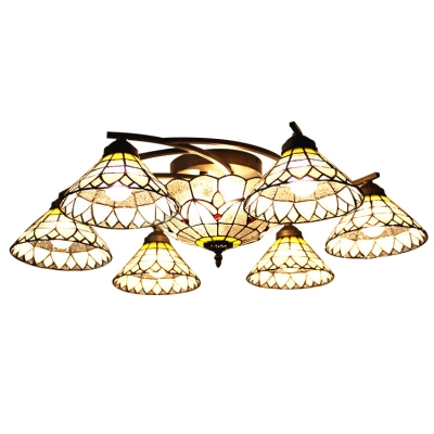 31.4 Inches Wide 8 Lights Downlight Ceiling Fan Ceiling Light in Tiffany Style