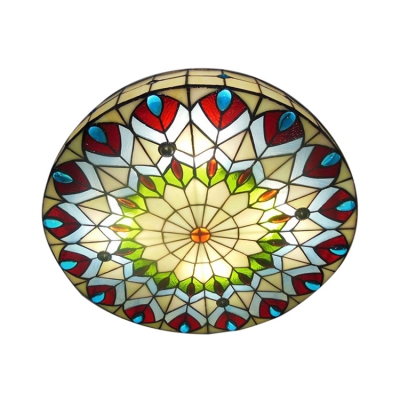 16 Inch Round Shade Peacock Stained Glass Tiffany 3 Light Flush Mount Ceiling Light