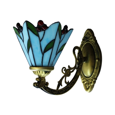 6 Inch Cherry Motif One-light Blue Stained Glass Tiffany Wall Lamp with Bronze Base