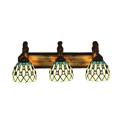 Attractive Beige Pattern 24 Inch Bathroom Vanity Lighting In Tiffany Stained Glass  Style ...