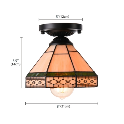 Geometric Pattern 6/8 Inch Mini Semi Flush Mount Ceiling Light  in Tiffany Stained Glass Style