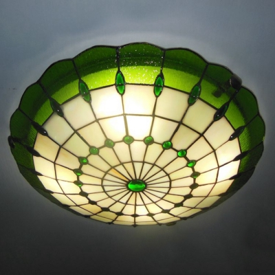 Green Color 12 Inch Flush Mount Ceiling Light In Tiffany Stained Gl Style