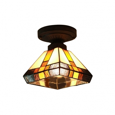the best attitude 66850 66d80 Diamond Shade Stained Glass Tiffany One-light Semi Flush Mount Ceiling