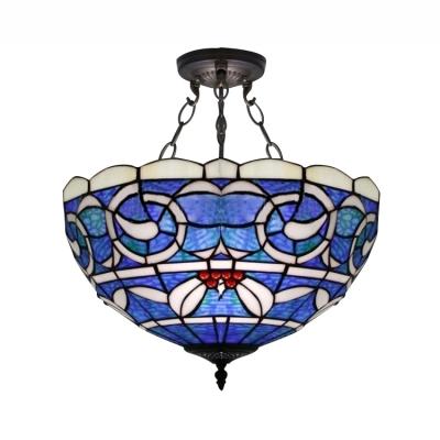 Blue Bowl Shade 3 Lights Tiffany Pendant with White Leaf Motif