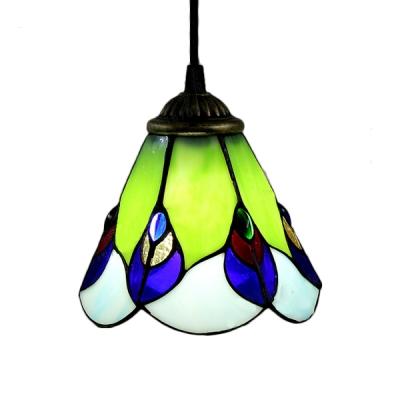 Brass Finish Rectangle Base Multi-light Pendant in Tiffany Style with Ladybug Motif