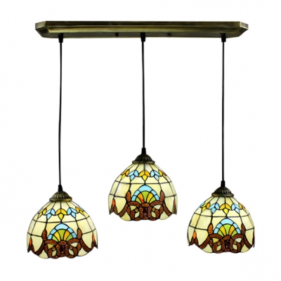 Fashion style multi light pendant bowl tiffany lights classic baroque style stained glass tiffany 3 light pendant for dinning room mozeypictures Image collections
