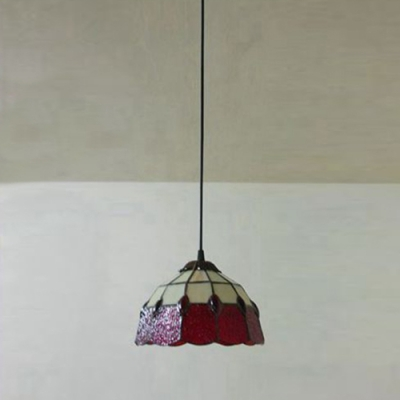 Red Stained Glass 8 Inch Tiffany One-light Kitchen Hanging Mini Pendant Light