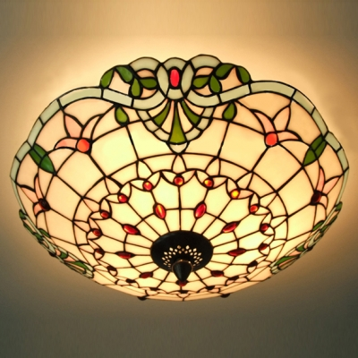 Three Light Hand Made Stained Gl Tiffany 3 Flush Mount Ceiling