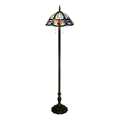 Traditional Living Room Floor Lamp 65 Inch High in Tiffany Style with Pull Chain