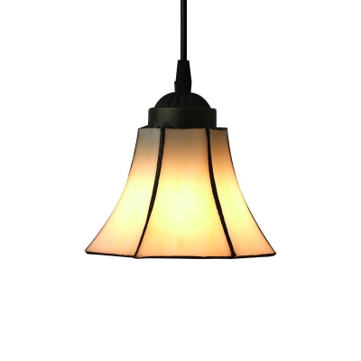 White Bell Shade Stained Glass Tiffany One-light Mini Pendant Lighting