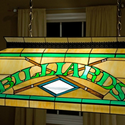 Billard Pool Table Lamp Stained Glass Tiffany 2 Light Pendant