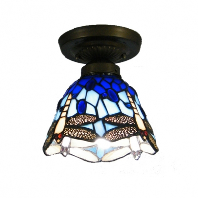 Blue Stained Glass Country Style 6 Inch Wide Tiffany Semi Flush Mount Ceiling Light