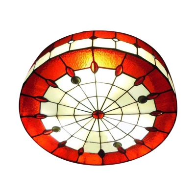 Red Stained Glass 16 Inch Flush Mount Ceiling Light in Tiffany
