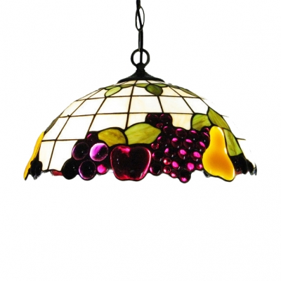 16 Inch Wide Nature Country Style Fruit Motif One-light Tiffany Hanging Pendant Light