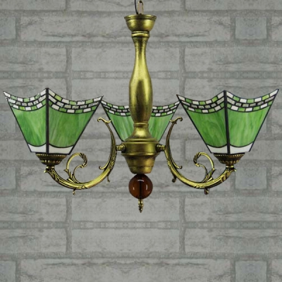 Bronze Finished Green Stained Glass Tiffany Three-light Chandelier with Uplight