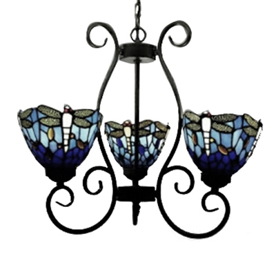 Country style 20 inch wide tiffany three light chandelier ceiling country style 20 inch wide tiffany three light chandelier ceiling light with dragonfly pattern aloadofball Images