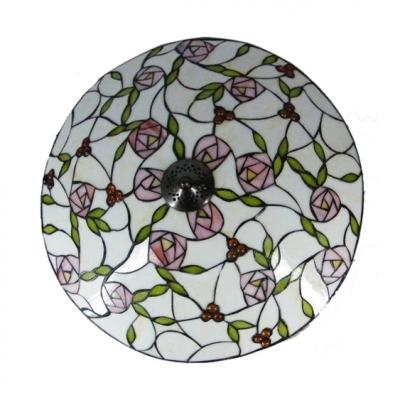 Round Pink Blossom Tiffany Style Flush Mount Ceiling Light
