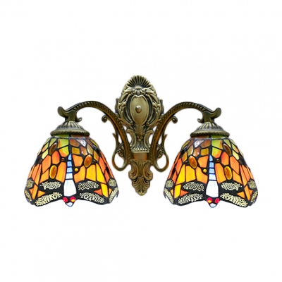 Two-light Country Style 16 Inch Wide Tiffany Wall Sconce with Dragonfly Pattern