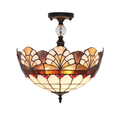 Vintage 12 Inch Semi Flush Mount Ceiling Light In Tiffany Stained Gl Style