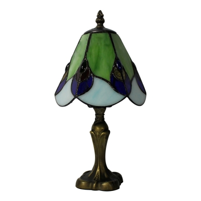 Vintage Mini Tiffany Stained Glass Table Lamp with Scalloped Edge