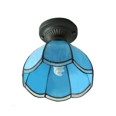 Downlight Bowl Blue Stained Glass Tiffany One-light Semi Flush Mount Ceiling Light