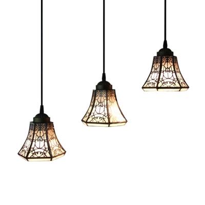 Lodge Style  3 Lights Bell Shade Adjustable Tiffany Pendant