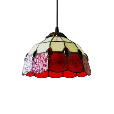 Red stained glass 8 inch tiffany one light kitchen hanging mini red stained glass 8 inch tiffany one light kitchen hanging mini pendant light aloadofball Image collections