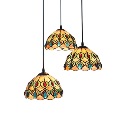 tiffany pendant lights nz. 12 inch round shade shell stained glass tiffany three-light pendant lighting lights nz g