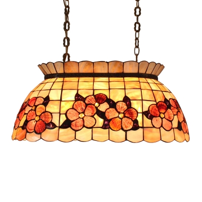 Hand-made Shell Material Tiffany Three-light Pool Table Pendant Lighting