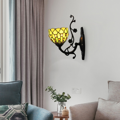 6 Inch Wide Yellow Stained Glass Wall Sconce with Jewels Decor in Rustic Style