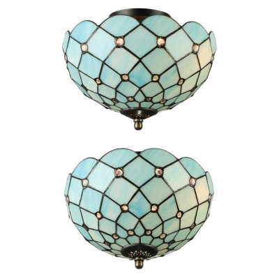 Mediterranean Sea Blue Pattern 12 Inch Semi Flush Mount Ceiling Light in Tiffany Stained Glass Style