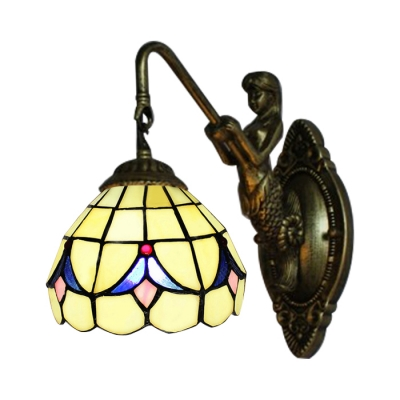Single Light Mermaid Wall Sconce 6 Inch Mini Size in Tiffany Stained Glass Style
