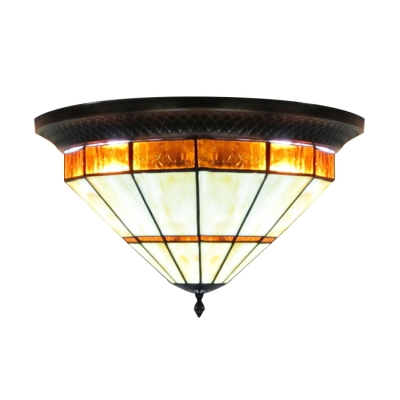 Traditional Style Stained Gl Tiffany Three Light Flush Mount Ceiling