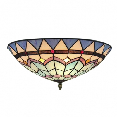 One Lighted Hand-made Blue Stained Glass Tiffany 16 Inch Flush Mount Ceiling Light
