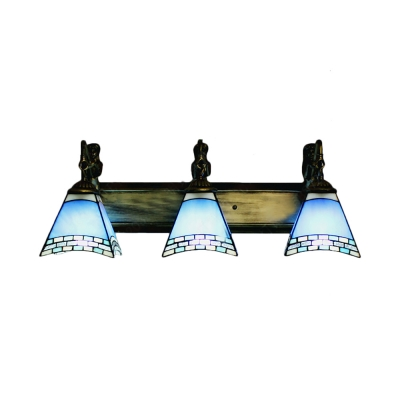 Three Light Mermaid 24 Inch Bathroom Lighting In Tiffany Stained Glass Style