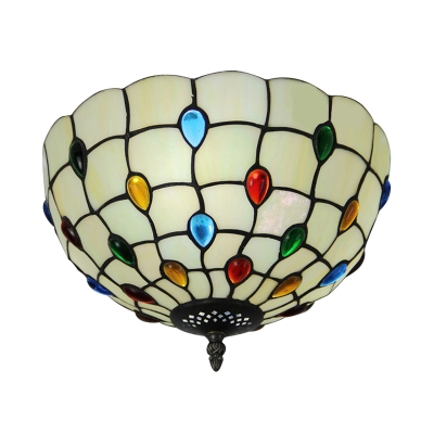 White Bowl Shade 16 Inch Flush Mount Ceiling Light In Tiffany Stained Gl Style
