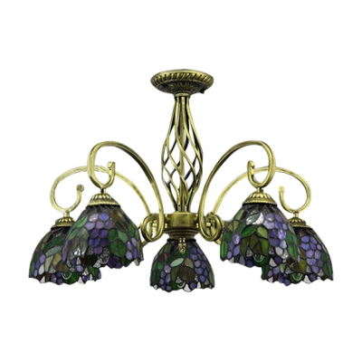 24 Inch Wide Grape Motif Five-light Tiffany Chandelier Ceiling Light