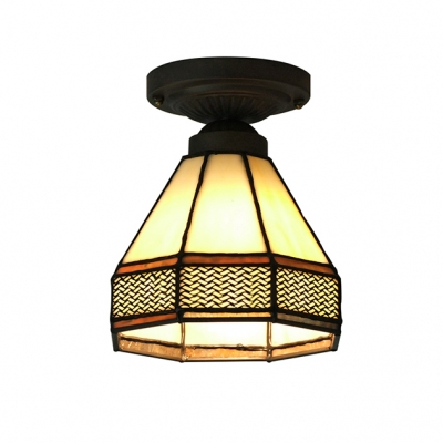 5 inch mini tiffany stained glass style semi flush mount. Black Bedroom Furniture Sets. Home Design Ideas