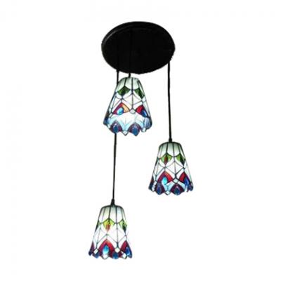 Black Finish Round Base Three-light Stained Glass flower Shade Pendant