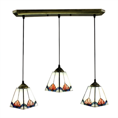 Downward Cone Shade Stained Glass Tiffany 3-light Dining Room Pendant
