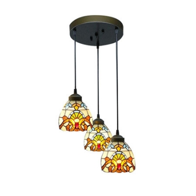 Round base baroque pattern 8 inch multi light hanging pendant round base baroque pattern 8 inch multi light hanging pendant lighting in tiffany stained glass aloadofball Gallery
