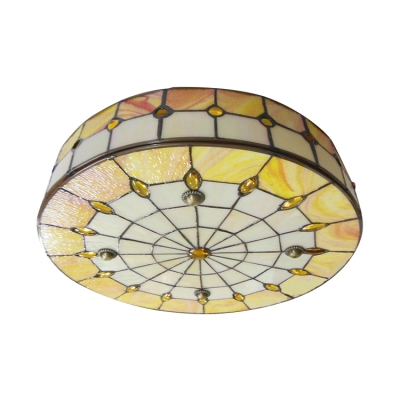 Round Shade Yellow Stained Glass Flush Mount Ceiling Light 3 Sizes for Choice