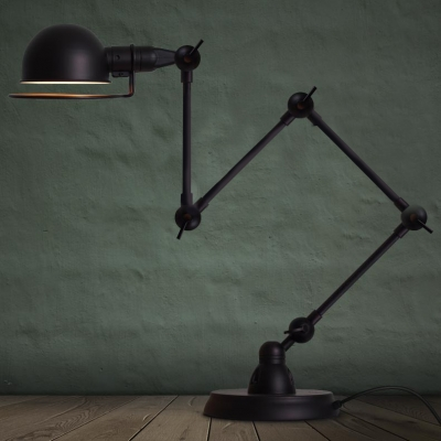 Vintage Task 1 Light Floor Lamp In Black Finish