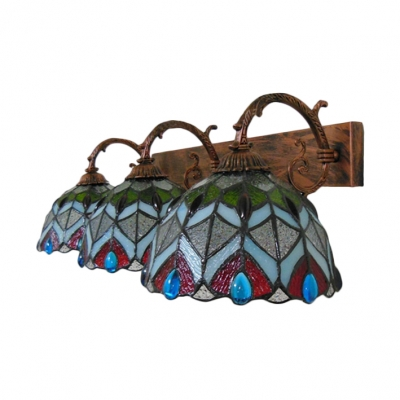 Red Peacock Copper Finished  Tiffany Stained Glass Three-light Wall Sconce