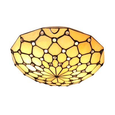 12 Inch Beige Stained Glass Tiffany Two-light Flush Mount Ceiling Light