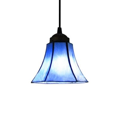 All Blue Stained Glass Bell Shade Tiffany One Light Mini Pendant