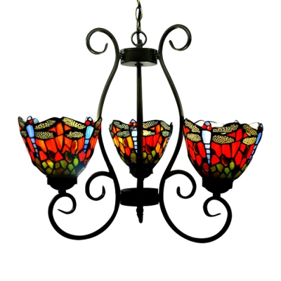 Country Style 20 Inch Wide Tiffany Three Light Chandelier Ceiling With Dragonfly Pattern