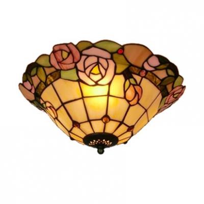Dome shape tiffany flush mount ceiling light with pink rose aloadofball Choice Image